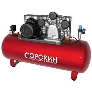 Воздушный компрессор СОРОКИН Компрессор поршневой 10атм, 5,5кВт, 380В, 950л/мин, горизонтальный ресивер 500л