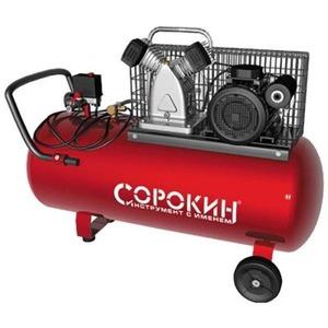 Воздушный компрессор СОРОКИН Компрессор поршневой 10атм, 2,2кВт, 220В, 420л/мин, горизонтальный ресивер 100л