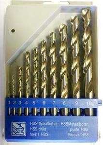 Набор сверл по металлу из 10 шт. (d 1, 2, 3, 4, 5, 6, 7, 8, 9, 10мм)