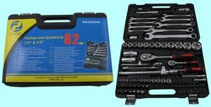 "Набор ""CNIC"" 82 предмета GW-B5082M (торцевые головки 1/4""-1/2"", ключи, вставки) CrV в кейсе (упакованы по 3шт.)"