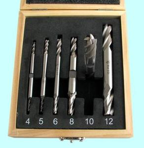 """Набор Фрез концевых 2-х  сторонних по металлу из  6шт. (d4, 5, 6, 8, 10, 12мм Z=4) Р18 в деревянном футляре """"CNIC"""""""