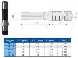 """Оправка с хв-ком R8 (7/16""""- 20UNF) / d16-L201 для дисковыз фрез """"CNIC"""""""