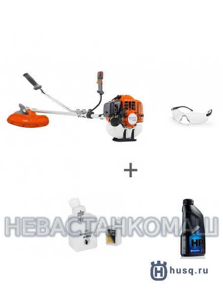 Триммер бензиновый Husqvarna 143R-II + очки защитные, канистра и масло, рис.1