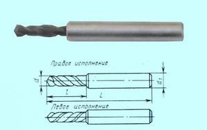 Сверло d  3,2х12х52 ц/х ВК8 цельное стальной  ут. хв. dхв. 6,0 ГОСТ17273