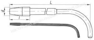 Метчик Гаечный М24 х 2,0 Р6М5 с изогнутым хвостовиком