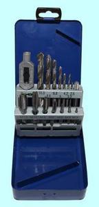 """Набор резьбонарезной из  7 метчиков М3-М12 9ХС +вороток и  7 сверл d2.5-d10.3 в металлическом футляре (15 поз.) SM015-1 """"CNiC"""""""