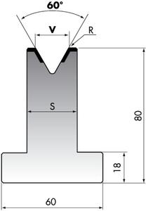 Матрица для листогибочного пресса Rolleri TR80-10-60