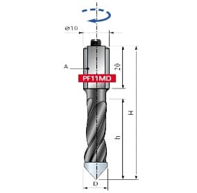 PF11MD. Сверло для сквозных отверстий ITAL Tools